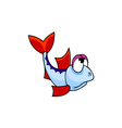 fish with red fins cartoon vector image vector image
