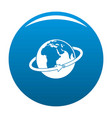 flight around earth icon blue vector image