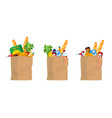 food in shopping paper bags bread or cans vector image