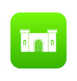 fortress with gate icon digital green vector image vector image