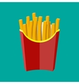 French fries in red paper box potato fast food vector image vector image