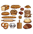fresh delicious soft bakery products sketches set vector image
