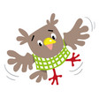 funny flying owl vector image vector image