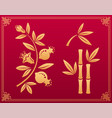 garnet and bamboo asian traditional gold ornaments vector image