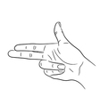 hand gesture in the form of a gun on white vector image vector image