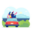 happy loving couple travel together man and woman vector image
