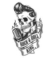 human skull in rock and roll vector image