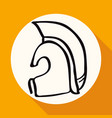 icon ancient helmet on white circle with a long vector image