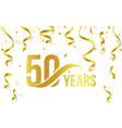 isolated golden color number 50 with word years vector image vector image