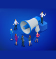 isometric megaphone and people digital marketing vector image vector image