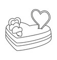 line art black and white heart cake vector image vector image