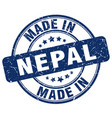 made in nepal blue grunge round stamp vector image vector image