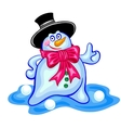 Merry Christmas snowman with red bow vector image vector image