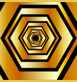 metallic hexagonal illusion in gold colors forming vector image