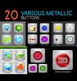 metallic polish web internet buttons set vector image vector image