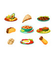 mexican traditional food set spicy fresh vector image