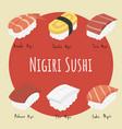 nagiri sushi set vector image vector image