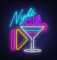 night club- neon sign on brick wall background vector image vector image