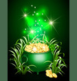 pot with gold coins in the grass vector image vector image