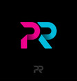 pr origami logo blue pink ribbon letters vector image vector image
