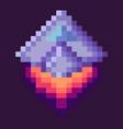 retro spaceship pixel art game rocket at night vector image