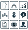 set of 9 human resources icons includes business vector image vector image