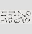 set piercing jewelry pierce rings barbell vector image