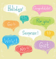 set speech bubbles with text on scratched paper vector image