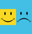 smile sorrow emotions joy and disappointment vector image