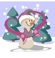 Snowman color 23 vector image vector image