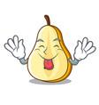 tongue out sliced fresh juicy pear mascot cartoon vector image vector image