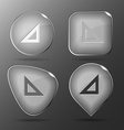 Triangle ruler Glass buttons vector image
