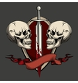 Two skulls with tattoo vector image vector image
