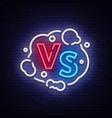 versus neon sign versus logo symbol in vector image