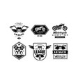 vintage premium motorcycle league logo set retro vector image