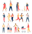 walking adults and kids flat parents children vector image vector image