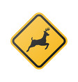 wildlife crossing warning road sign vector image
