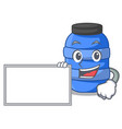 with board large cartoon plastic barrel for water vector image