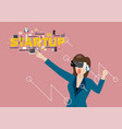 woman using virtual reality headset vector image vector image