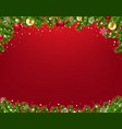 xmas border with fir tree red background vector image vector image