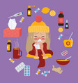 young girl caught cold flu or virus treatment of vector image vector image