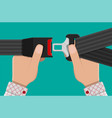 safety belt in hand vector image