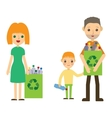 Family recycling plastic bottles Flat styled vector image