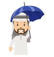 arab men with umbrella on white background