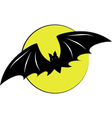 Bat flying with a full moon vector image vector image