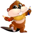 beaver with pencils vector image vector image