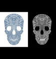 black and white tattoo skull vector image vector image