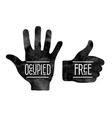 Black hand silhouettes with the words Occupied and vector image