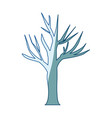 blue shading silhouette of dry tree vector image vector image