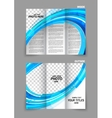 Blue tri fold brochure vector image vector image